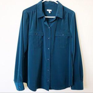 Talbots Dark Green LongSleeve Button Down Shirt L